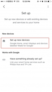 "tap ""Set up new devices"""