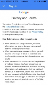 Privacy and terms for Google account