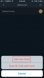 "Press ""Add new home"" button"