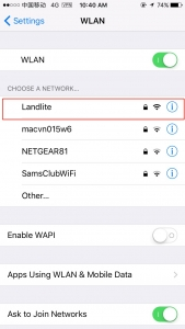 Choose the WLAN name.