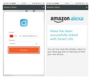 "tap ""Link Now"" to link your SMAlux account. When ""Alexa has been successfully linked with SMAlux"" shows up, tap ""×"" on the top right corner."