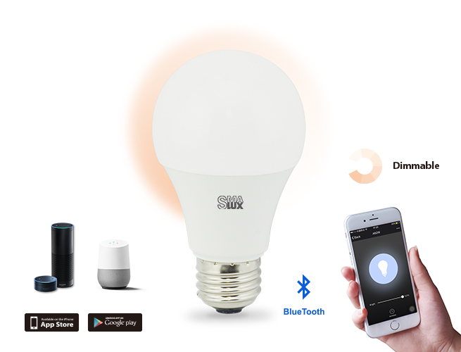 A19 Dimmable Bluetooth Smart LED Light Bulb