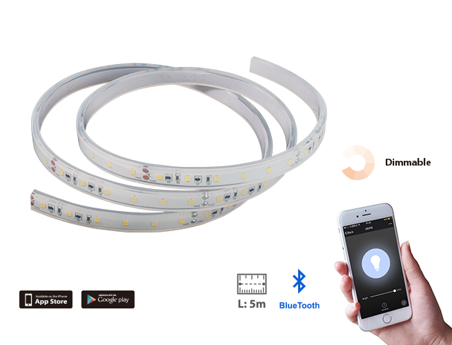 SMAlux 16.4ft 5m Dimmable Bluetooth IP65 LED Flexible Strip Light