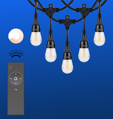 SMAlux 24FT Remote-Control Dimmable IP65 LED String Light
