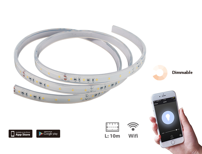 SMAlux 32.8ft 10m Dimmable Wifi IP65 LED Flexible Strip Light