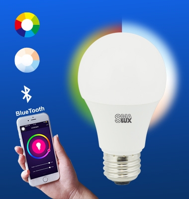 SMAlux A19 Multi Color and Tunable White Bluetooth Smart LED Light Bulb