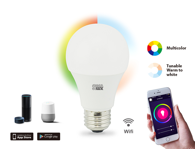 SMAlux A19 Multi Color and Tunable Whit Wifi Smart LED Light Bulb
