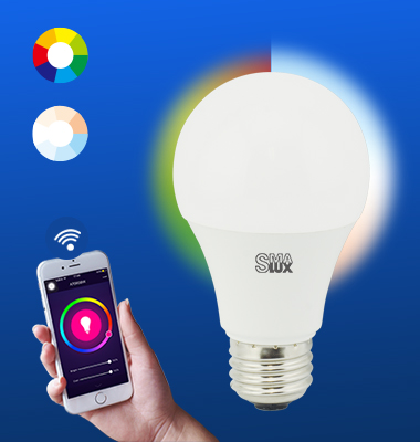 SMAlux A19 Multi Color and Tunable White Wi-Fi Smart LED Light Bulb