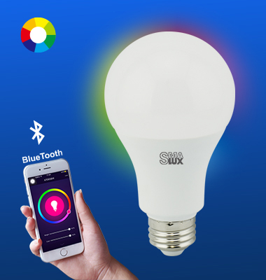 SMAlux A21 Multi Color Bluetooth Smart LED Light Bulb