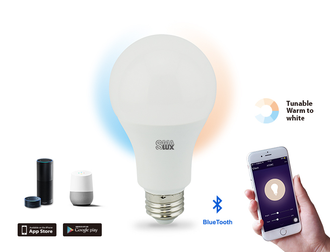 SMAlux A21 Tunable White Bluetooth Smart LED Light Bulb