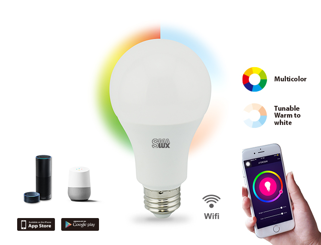 SMAlux A70 Multi Color and Tunable Whit Wi-Fi Smart LED Light Bulb