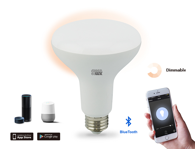SMAlux BR30 Dimmable Bluetooth Smart LED Light Bulb