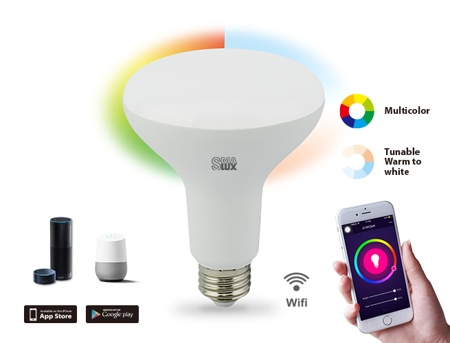 SMAlux BR30 Multi Color and Tunable White Wi-Fi Smart LED Light Bulb