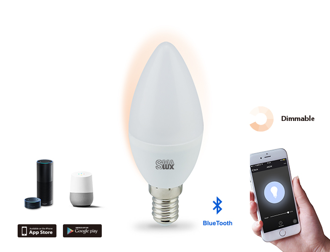 SMAlux Candle Dimmable Bluetooth Smart LED Light Bulb