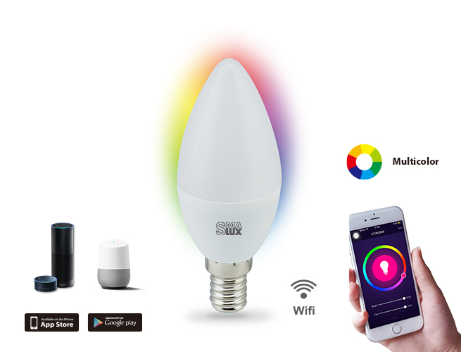 MAlux Candle Multi Color Wi-Fi Smart LED Light Bulb