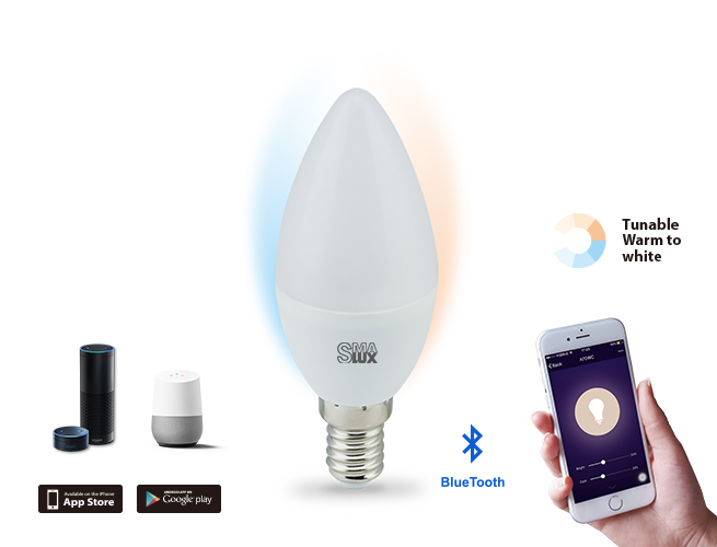 SMAlux Candle Tunable White Bluetooth Smart LED Light Bulb