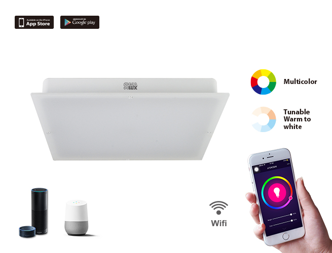 SMAlux Multi Color and Tunable White Wi-Fi Square LED Ceiling Light