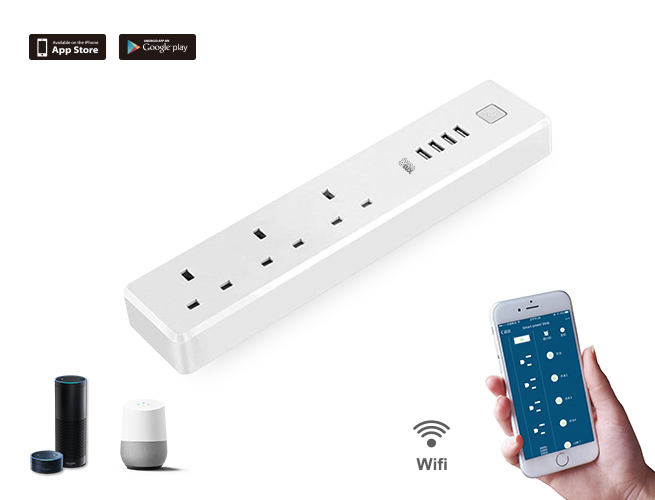 SMAlux Wifi Control smart Power Strip 4 USB + 3 UK AC Power Socket