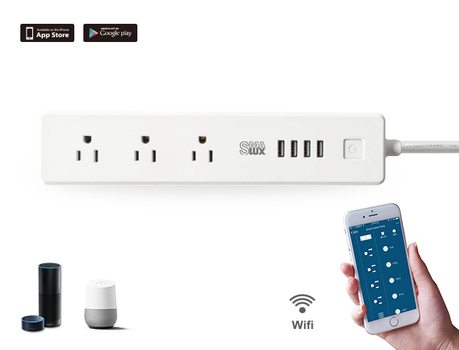 SMAlux Wifi Control smart Power Strip 4 USB + 3 US AC Power Socket