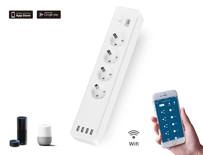 SMAlux Wifi Control smart Power Strip 4 USB + 4 EU AC Power Socket