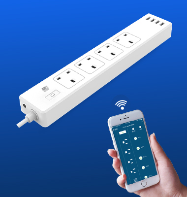 SMAlux Wifi Control smart Power Strip 4 USB + 4 UK AC Power Socket