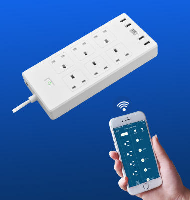 SMAlux Wifi Control smart Power Strip 4 USB + 6 UK AC Power Socket
