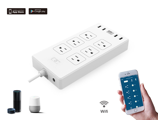 SMAlux Wifi Control smart Power Strip 4 USB + 6 US AC Power Socket