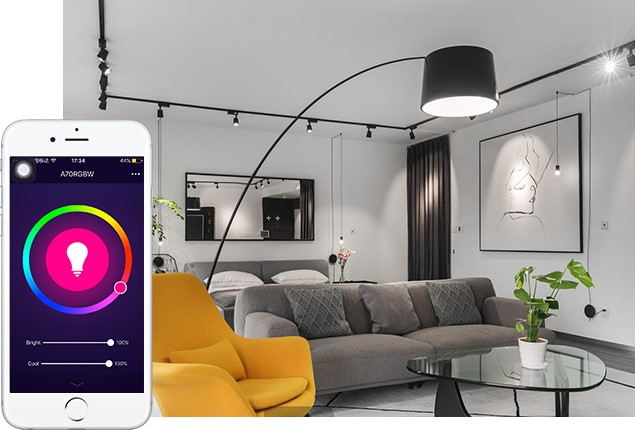 Indoor smart light fixture in living room
