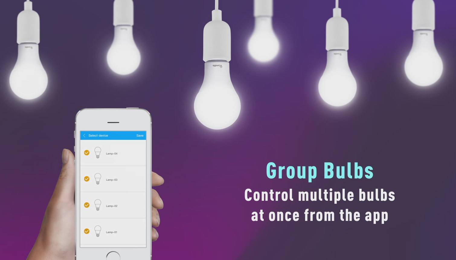 13-Multiple A21 Smart LED Light Bulbs Controlled In a Group