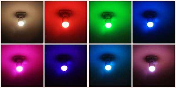 8 different colors of Indoor smart light bulb