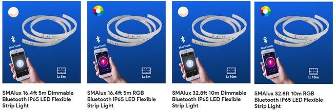 Different models of SMAlux Bluetooth LED strip light
