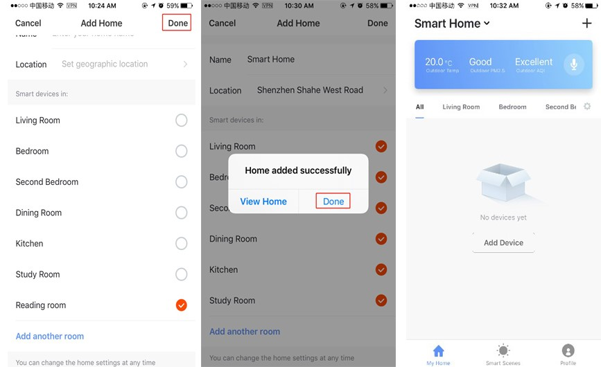 Home Added Successfully in Smart Life App