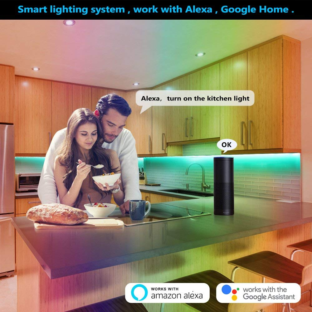 Works with Alexa, Google Home.