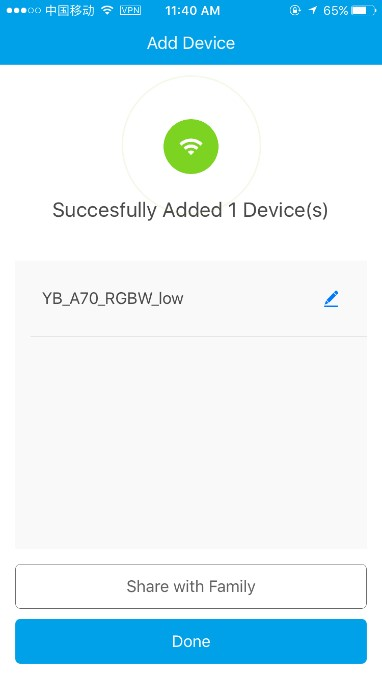 Bulb connected to the Wi-Fi successfully