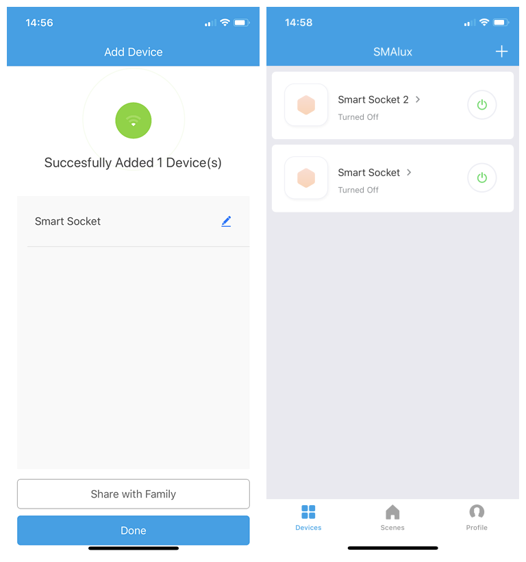 Manager the device control interface in SMAlux APP
