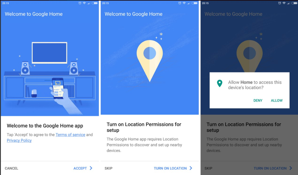 Allow Google Home to access the device location