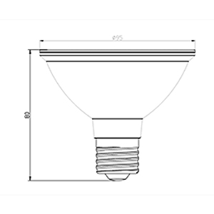 PAR30-10W-COB-D spotlight bulb drawing