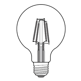 G80 LED filament bulb Design