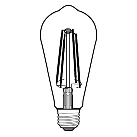ST64 LED filament bulb Design