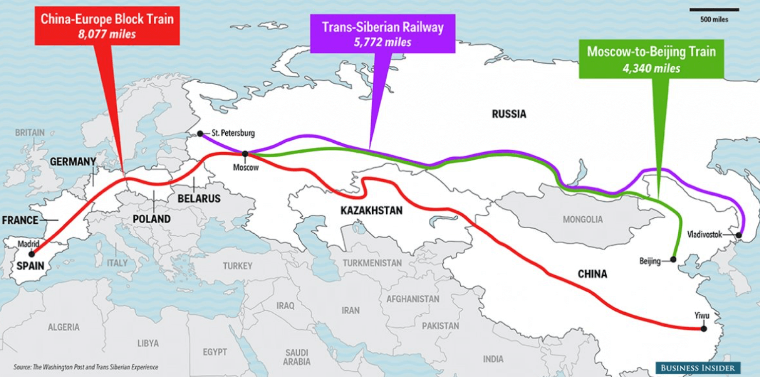 Train shipping routes