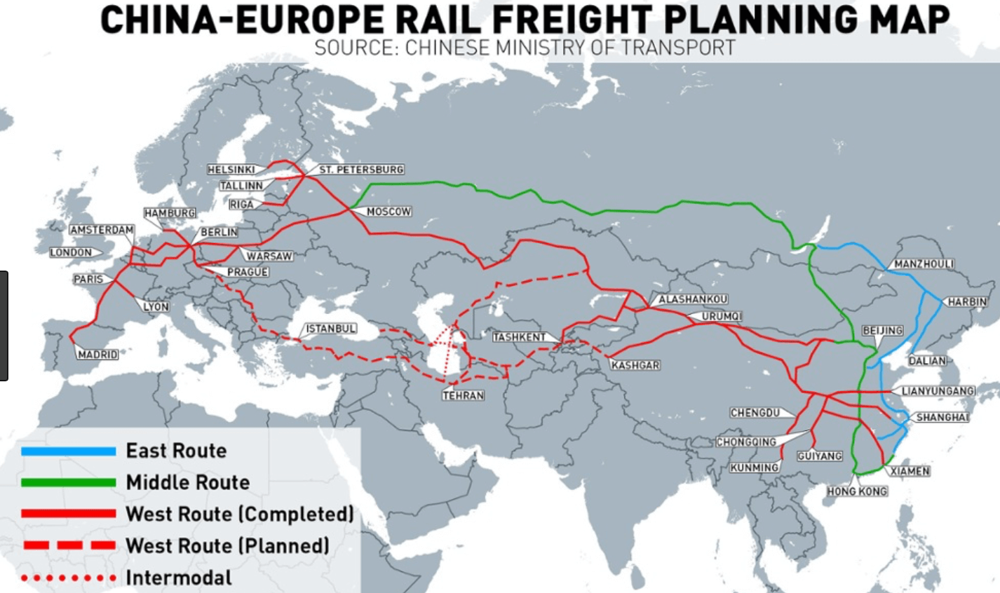 main train shipping routes