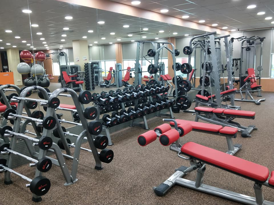 Gym with sports equipment