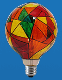 Colored lighting Finally, you can request hand-painted fixtures with a design of your choice. It can be a mosaic or a drawing that adorns your path light. We have the same service for LED filament bulbs as well.